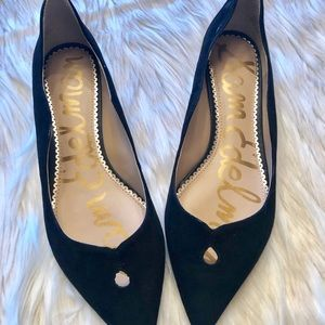 SAM EDELMAN ROSALIE BLACK SUEDE SCALLOPED FLATS